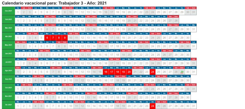 Calendario Laboral individual