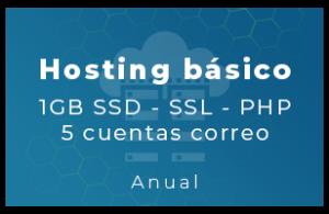 Hosting Básico - 1Gb SSD, SSL, php, 5 Cta correo (Anual)