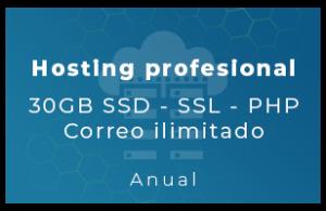 Hosting Profesional - 30Gb SSD, SSL, php, Correo Ilimitado (Anual)