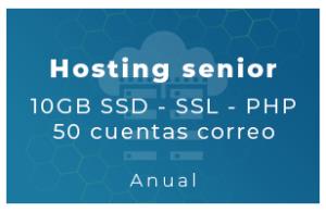 Hosting Senior - 10Gb SSD, SSL, php, 50 Cta correo (Anual)