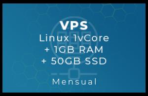 VPS Linux 1vCore + 1Gb RAM + 50Gb SSD (Mensual)